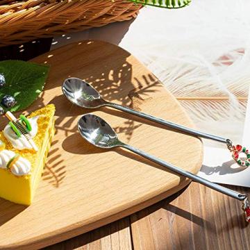 AXspeed Weihnachtslöffel, 6-teiliges Edelstahl-Löffel, Koch-Set mit Weihnachtsanhänger, Kaffee-Rührlöffel, Teelöffel, Dessertlöffel, mit Geschenkbox (Silber) - 7