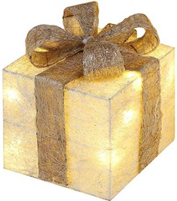 Bambelaa! 3er Led Deko Geschenke Leucht Boxen Timer Weihnachts Dekoration Weihnachtsdeko Beleuchtet Deko Weihnachten (Gold) - 3