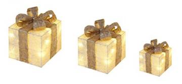 Bambelaa! 3er Led Deko Geschenke Leucht Boxen Timer Weihnachts Dekoration Weihnachtsdeko Beleuchtet Deko Weihnachten (Gold) - 4
