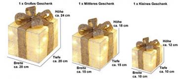 Bambelaa! 3er Led Deko Geschenke Leucht Boxen Timer Weihnachts Dekoration Weihnachtsdeko Beleuchtet Deko Weihnachten (Gold) - 5