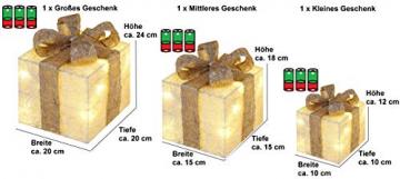 Bambelaa! 3er Led Deko Geschenke Leucht Boxen Timer Weihnachts Dekoration Weihnachtsdeko Beleuchtet Deko Weihnachten (Gold) - 6
