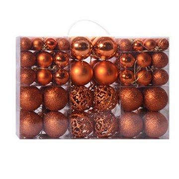 Battnot Weihnachtskugeln 100 teilig 24 teilig 30/60mm Christbaumkugeln Set Weihnachtsbaumschmuck Christbaumschmuck Weihnachtsbaum Kugel Dekoration hängende Hausparty Christmas Xmas (Orange, 100) - 1