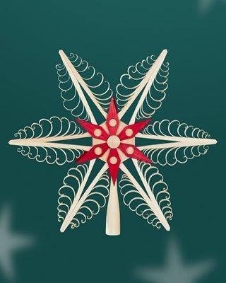 Baumschmuck Christbaumspitze Mitte mit Holzstern Rot (Beidseitig) BxHxT=31x31x4cm NEU Weihnachten Christbaum Baum Spitze Holzschmuck Holz Seiffen Erzgebirge Dekoration - 1