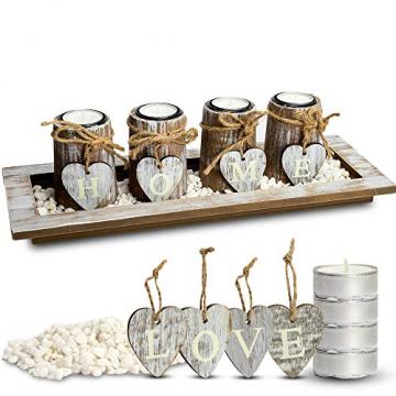 Bella O'Blue Kerzenständer für Teelichter I Teelichthalter Tischdeko I 4 Kerzenhalter in Dekoschale mit Deko Herz, Dekosteine weiß I Home + Love - 1