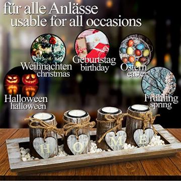 Bella O'Blue Kerzenständer für Teelichter I Teelichthalter Tischdeko I 4 Kerzenhalter in Dekoschale mit Deko Herz, Dekosteine weiß I Home + Love - 5