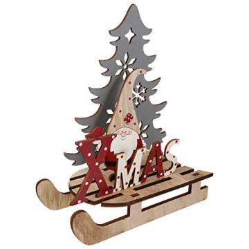 BESPORTBLE Weihnachten Holz Schriftzug Weihnachtsmann Figur Xmas Deko Aufsteller Objekt Mini Weihnachtsbaum Schlitten Weihnachten Tischdekoration Dekofigur Weihnachtsschmuck - 4