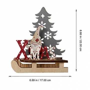 BESPORTBLE Weihnachten Holz Schriftzug Weihnachtsmann Figur Xmas Deko Aufsteller Objekt Mini Weihnachtsbaum Schlitten Weihnachten Tischdekoration Dekofigur Weihnachtsschmuck - 7