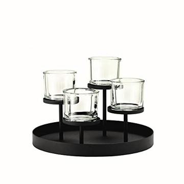 blomus -NERO- Kerzenleuchter aus pulverbeschichtetem Stahl mit Glas, moderner Kerzenhalter mit hochwertiger Verarbeitung, stilvolles Wohnaccessoire (H / B / T: 21,5 x 31,5 x 31,5 cm, Schwarz, 65558) - 2