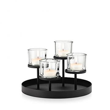 blomus -NERO- Kerzenleuchter aus pulverbeschichtetem Stahl mit Glas, moderner Kerzenhalter mit hochwertiger Verarbeitung, stilvolles Wohnaccessoire (H / B / T: 21,5 x 31,5 x 31,5 cm, Schwarz, 65558) - 1