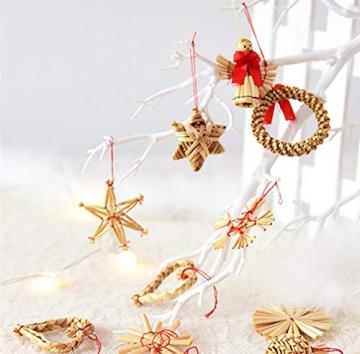 Bluelves Strohsterne Weihnachtsbaumschmuck aus Stroh, 56-teiliges Christbaumschmuck Strohanhänger, Weihnachstbaum Schmuck, Natürlicher Christbaum-Behang, bis zu 6,5 cm große Sterne Herzen Engel - 4