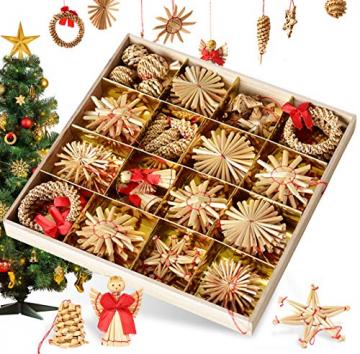 Bluelves Strohsterne Weihnachtsbaumschmuck aus Stroh, 56-teiliges Christbaumschmuck Strohanhänger, Weihnachstbaum Schmuck, Natürlicher Christbaum-Behang, bis zu 6,5 cm große Sterne Herzen Engel - 1