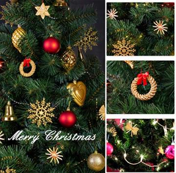 Bluelves Strohsterne Weihnachtsbaumschmuck aus Stroh, 56-teiliges Christbaumschmuck Strohanhänger, Weihnachstbaum Schmuck, Natürlicher Christbaum-Behang, bis zu 6,5 cm große Sterne Herzen Engel - 7