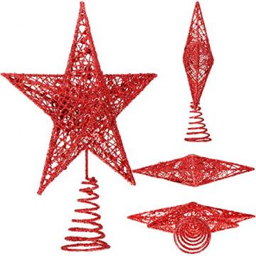 Blulu 2 Stück Metall Glitzer Weihnachtsbaum Topper Stern Baum Spitze Hohldraht Stern Topper für Christbaum Ornament, 2 Größen (Rot) - 2