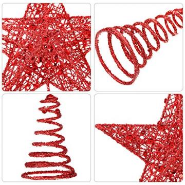 Blulu 2 Stück Metall Glitzer Weihnachtsbaum Topper Stern Baum Spitze Hohldraht Stern Topper für Christbaum Ornament, 2 Größen (Rot) - 3