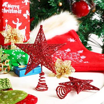 Blulu 2 Stück Metall Glitzer Weihnachtsbaum Topper Stern Baum Spitze Hohldraht Stern Topper für Christbaum Ornament, 2 Größen (Rot) - 5