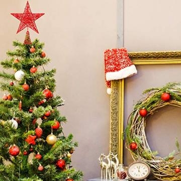 Blulu 2 Stück Metall Glitzer Weihnachtsbaum Topper Stern Baum Spitze Hohldraht Stern Topper für Christbaum Ornament, 2 Größen (Rot) - 6