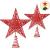 Blulu 2 Stück Metall Glitzer Weihnachtsbaum Topper Stern Baum Spitze Hohldraht Stern Topper für Christbaum Ornament, 2 Größen (Rot) - 1