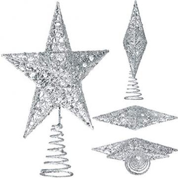 Blulu 6 Zoll Stern Baum Spitze Exquisit Schimmernd Weihnachtsbaum Topper für Christbaum Dekoration (Silber) - 2