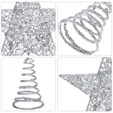 Blulu 6 Zoll Stern Baum Spitze Exquisit Schimmernd Weihnachtsbaum Topper für Christbaum Dekoration (Silber) - 3