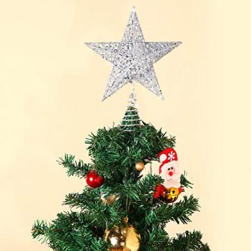 Blulu 6 Zoll Stern Baum Spitze Exquisit Schimmernd Weihnachtsbaum Topper für Christbaum Dekoration (Silber) - 4
