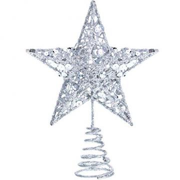 Blulu 6 Zoll Stern Baum Spitze Exquisit Schimmernd Weihnachtsbaum Topper für Christbaum Dekoration (Silber) - 1
