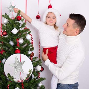 Blulu 6 Zoll Stern Baum Spitze Exquisit Schimmernd Weihnachtsbaum Topper für Christbaum Dekoration (Silber) - 5