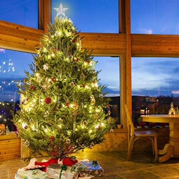 Blulu 6 Zoll Stern Baum Spitze Exquisit Schimmernd Weihnachtsbaum Topper für Christbaum Dekoration (Silber) - 6