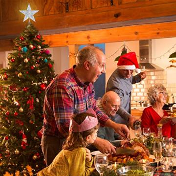 Blulu 6 Zoll Stern Baum Spitze Exquisit Schimmernd Weihnachtsbaum Topper für Christbaum Dekoration (Silber) - 7