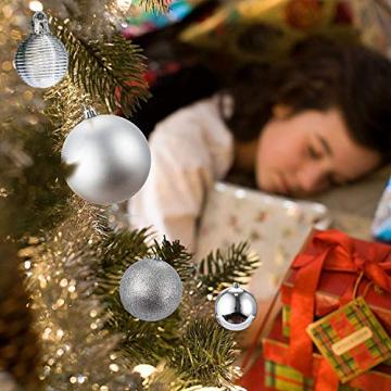 Bochang Kaishuai Mini weihnachtskugeln 54 Stück 30mm Silber deko Christbaumkugeln Set in6 Farben,Weihnachtsbaumkugeln-Silber Weiss,Baumschmuck &Christbaumkugeln Plastik - 7