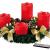 Britesta Adventkranz: Adventskranz mit roten LED-Kerzen, goldfarben geschmückt (Adventskranz mit LED-Beleuchtung) - 2