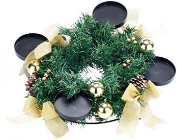 Britesta Adventkranz: Adventskranz mit roten LED-Kerzen, goldfarben geschmückt (Adventskranz mit LED-Beleuchtung) - 4