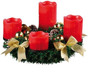 Britesta Adventkranz: Adventskranz mit roten LED-Kerzen, goldfarben geschmückt (Adventskranz mit LED-Beleuchtung) - 1