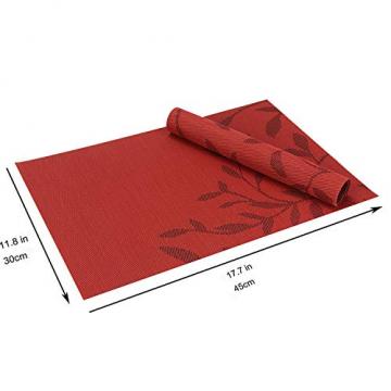 CHAOCHI Platzset Abwischbar Tischset Abwaschbar 6er Set PVC Abgrifffeste Hitzebeständig rutschfest Platzdeckchen für Küche,Zuhause,Restaurant,Speisetisch,45cmx30cm(Rot) - 2
