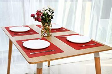 CHAOCHI Platzset Abwischbar Tischset Abwaschbar 6er Set PVC Abgrifffeste Hitzebeständig rutschfest Platzdeckchen für Küche,Zuhause,Restaurant,Speisetisch,45cmx30cm(Rot) - 3