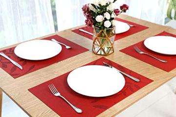 CHAOCHI Platzset Abwischbar Tischset Abwaschbar 6er Set PVC Abgrifffeste Hitzebeständig rutschfest Platzdeckchen für Küche,Zuhause,Restaurant,Speisetisch,45cmx30cm(Rot) - 4