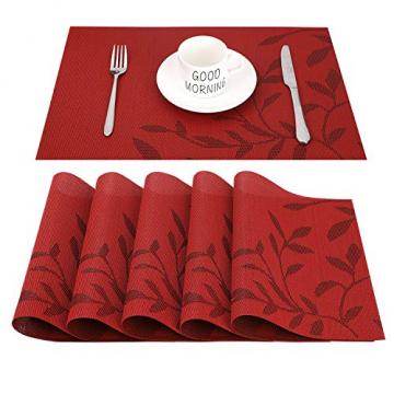 CHAOCHI Platzset Abwischbar Tischset Abwaschbar 6er Set PVC Abgrifffeste Hitzebeständig rutschfest Platzdeckchen für Küche,Zuhause,Restaurant,Speisetisch,45cmx30cm(Rot) - 1