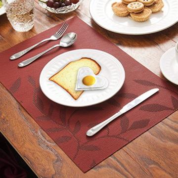 CHAOCHI Platzset Abwischbar Tischset Abwaschbar 6er Set PVC Abgrifffeste Hitzebeständig rutschfest Platzdeckchen für Küche,Zuhause,Restaurant,Speisetisch,45cmx30cm(Rot) - 8