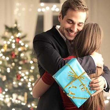 CINMOK 4Rolle Weihnacht Geschenkband 400Yard Gold Silber Ringelband Weihnachten Geschenkverpackung Polyband zum Basteln Xmas Deko Band für Geschenk Luftballons Neujahr Hochzeit Valentinstag Geburtstag - 2