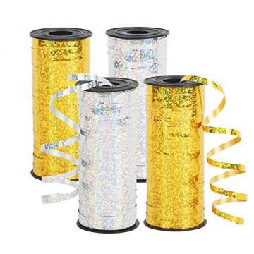 CINMOK 4Rolle Weihnacht Geschenkband 400Yard Gold Silber Ringelband Weihnachten Geschenkverpackung Polyband zum Basteln Xmas Deko Band für Geschenk Luftballons Neujahr Hochzeit Valentinstag Geburtstag - 1