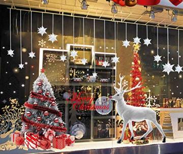 CMTOP Weihnachten Fenstersticker Weihnachtsdeko Fenster Weihnachtsbaum Süße Elche Fensteraufkleber PVC Fensterdeko Selbstklebend für Türen Schaufenster Vitrinen Glasfronten - 1