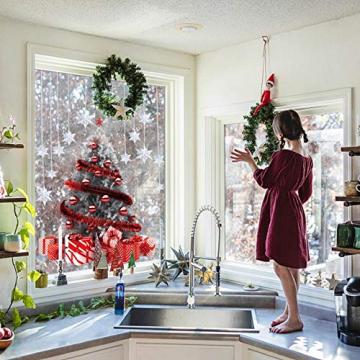 CMTOP Weihnachten Fenstersticker Weihnachtsdeko Fenster Weihnachtsbaum Süße Elche Fensteraufkleber PVC Fensterdeko Selbstklebend für Türen Schaufenster Vitrinen Glasfronten - 6