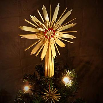 com-four® Christbaumspitze als Weihnachtsbaumschmuck aus Stroh - Strohstern-Spitze für den Weihnachtsbaum - Christbaum-Schmuck - natürlicher Christbaum-Behang - 2