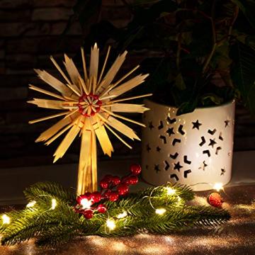 com-four® Christbaumspitze als Weihnachtsbaumschmuck aus Stroh - Strohstern-Spitze für den Weihnachtsbaum - Christbaum-Schmuck - natürlicher Christbaum-Behang - 3