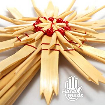 com-four® Christbaumspitze als Weihnachtsbaumschmuck aus Stroh - Strohstern-Spitze für den Weihnachtsbaum - Christbaum-Schmuck - natürlicher Christbaum-Behang - 6