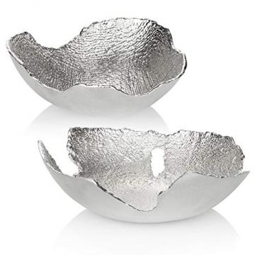 com-four® Deko-Schale aus Metall - Dekorative Design-Schüssel für Zuhause - Moderne Schale für Tischdeko, Obstschale, Servierplatte [Auswahl variiert] (rund) - 3
