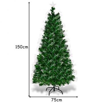 COSTWAY 150/180/210cm LED Künstlicher Weihnachtsbaum mit 8 Lichtmodi, Tannenbaum mit Metallständer, Christbaum mit Glasfaser-Farbwechsler und mehrfarbige Leuchten, Kunstbaum Weihnachten, grün (150cm) - 4