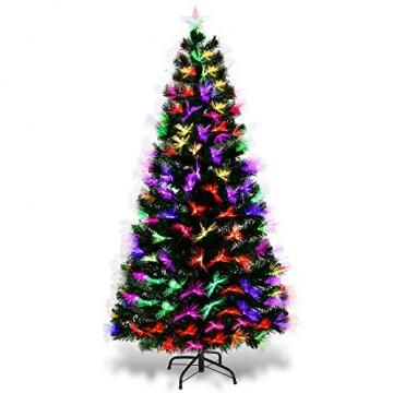 COSTWAY 150/180/210cm LED Künstlicher Weihnachtsbaum mit 8 Lichtmodi, Tannenbaum mit Metallständer, Christbaum mit Glasfaser-Farbwechsler und mehrfarbige Leuchten, Kunstbaum Weihnachten, grün (150cm) - 1