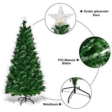 COSTWAY 150/180/210cm LED Künstlicher Weihnachtsbaum mit 8 Lichtmodi, Tannenbaum mit Metallständer, Christbaum mit Glasfaser-Farbwechsler und mehrfarbige Leuchten, Kunstbaum Weihnachten, grün (150cm) - 5