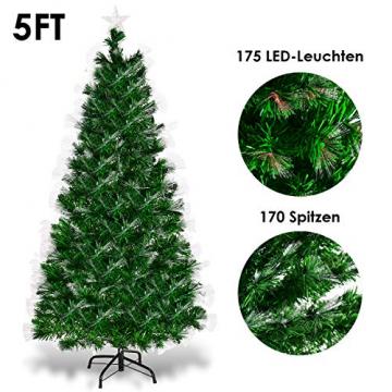 COSTWAY 150/180/210cm LED Künstlicher Weihnachtsbaum mit 8 Lichtmodi, Tannenbaum mit Metallständer, Christbaum mit Glasfaser-Farbwechsler und mehrfarbige Leuchten, Kunstbaum Weihnachten, grün (150cm) - 6