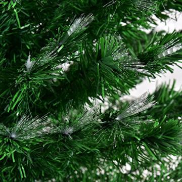 COSTWAY 150/180/210cm LED Künstlicher Weihnachtsbaum mit 8 Lichtmodi, Tannenbaum mit Metallständer, Christbaum mit Glasfaser-Farbwechsler und mehrfarbige Leuchten, Kunstbaum Weihnachten, grün (150cm) - 7